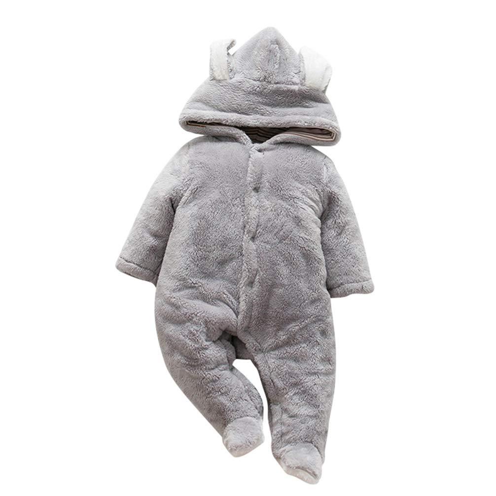 JEELINBORE Niños Niñas Cálido Mameluco con Capucha Traje de Nieve Bebé Afelpado Ropa de Invierno Jumpsuit