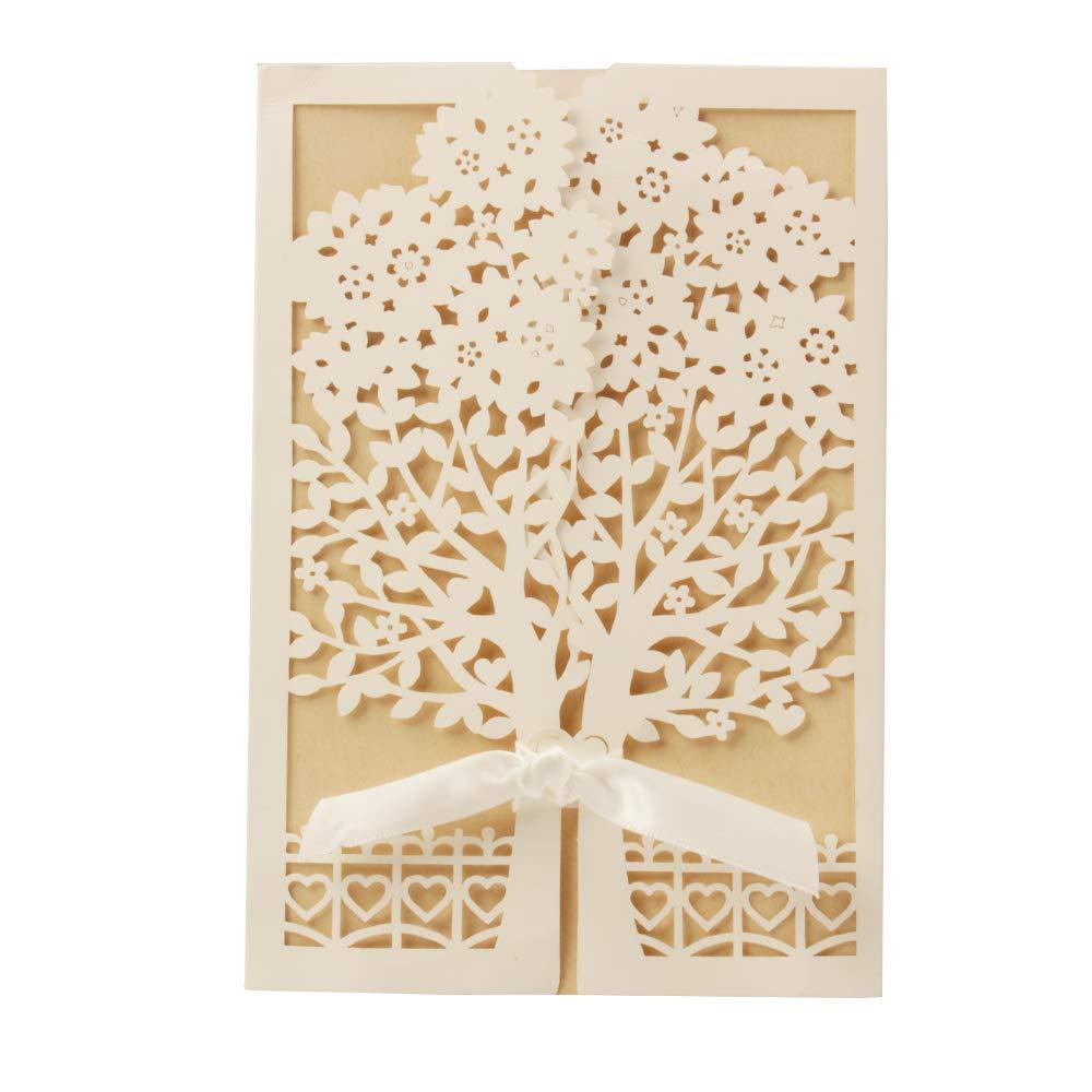20pcs VStoy Recenti nozze doro Kit Inviti Cards con bowknot del nastro Cartoncino per Wedding Marriage festa di compleanno di laurea