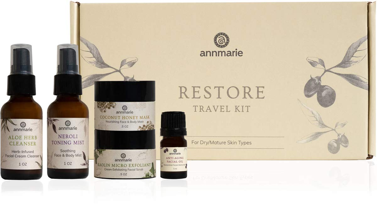 Annmarie Skin Care Restore Travel Kit - Anti-Aging, Mature Skin Care Set with Cleanser, Toning Mist, Facial Oil, Exfoliating Scrub + Honey Mask (5 Piece Kit)
