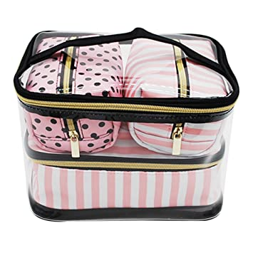 a4741f9f7a65 Amazon.com : 4Pcs PVC Transparent Cosmetic Bag Women's Pink Travel ...