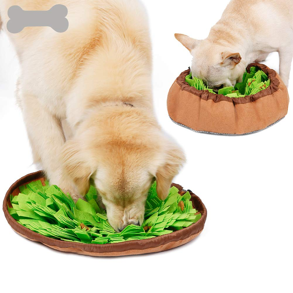 Rantow Pet Dog Snuffle Mat (Dia. 18.9'') - Multi-Functional Feeding Mat Slow Feeder Bowl for Small Medium Large Dogs - Encourages Natural Foraging Skills - Machine Washable (Green)