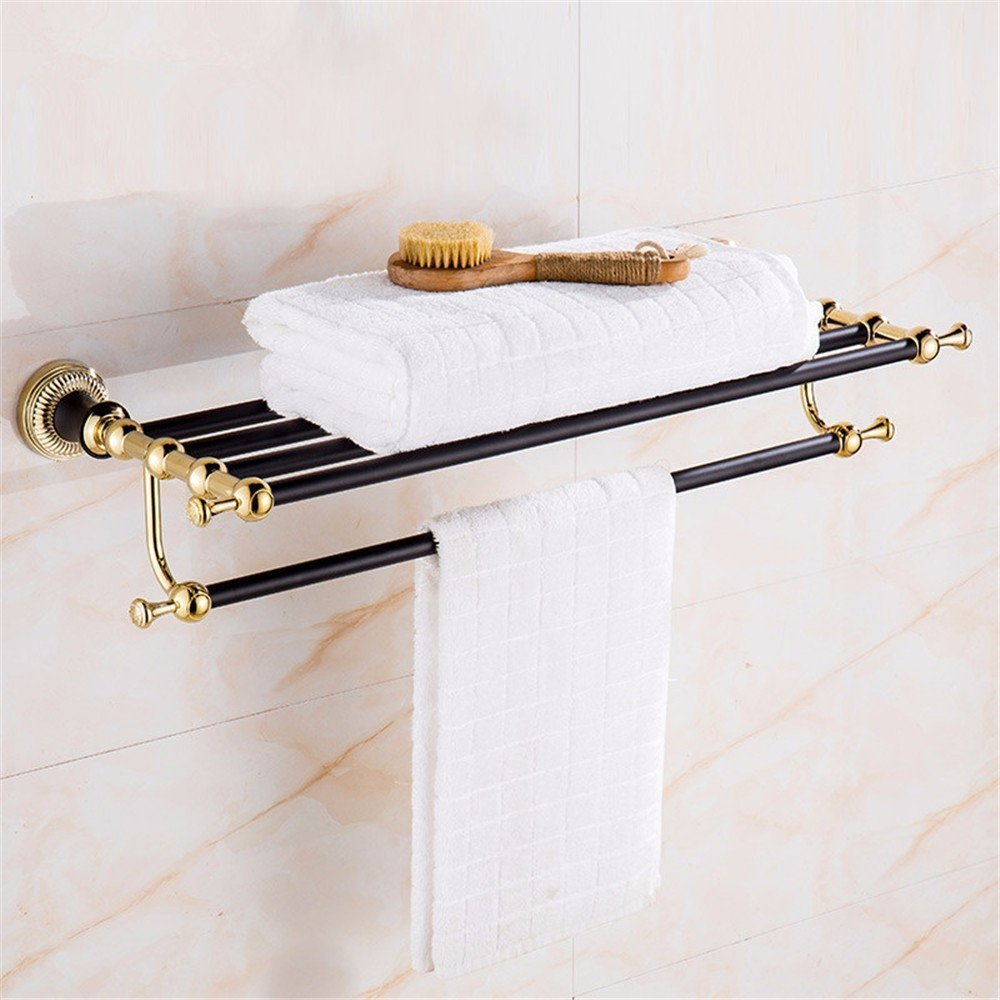 HOMEE European Gold Bathroom Towel Rack Black Patina Retro Rose Gold Bathroom Racks,A by HOMEE