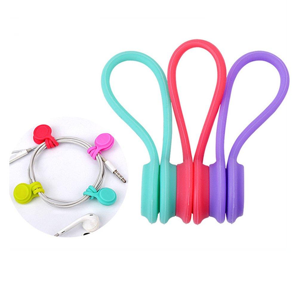 OUNONA Organizador del cable del abrigo de la devanadera del cable magnético 3pcs Administrador de cable del silicón del auricular magnético de uso múltiple (color al azar)