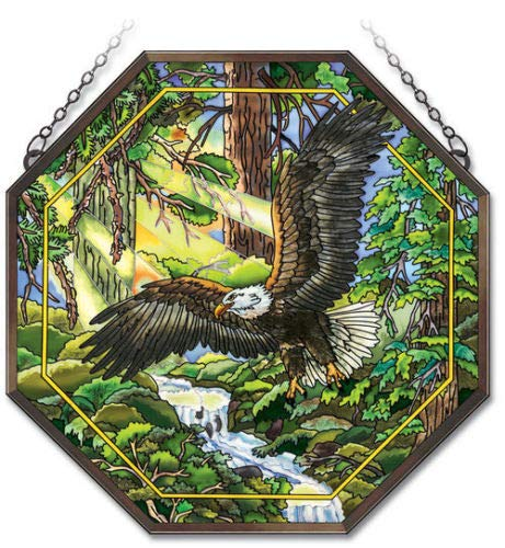 Stained Glass Suncatcher 15'' X 15'' Octagon Paneleagle
