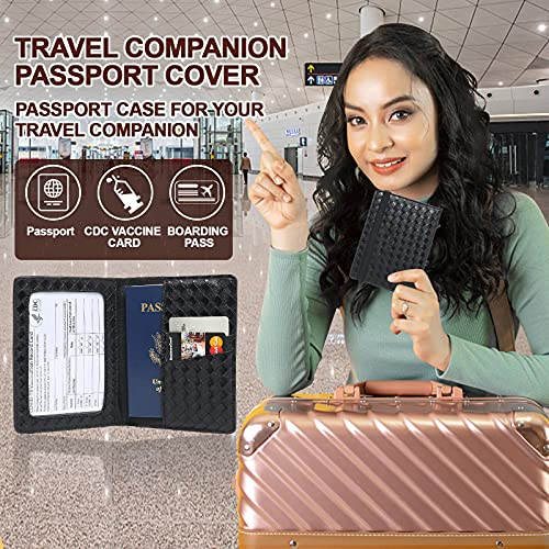 Passport Wallet for Women, osseph Passport and Vaccine Card Holder Combo, Slim Passport Cover and Vaccination Card Protector for Men, Travel Passport Case Protector with Waterproof Vaccine Card Slot (Advanced black)