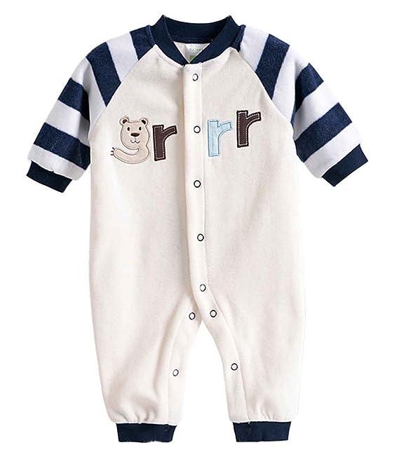 58d916f6fcaa Baby Footless Romper Newborn Pajamas Fleece Bodysuit Snug Fit ...