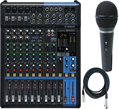 Yamaha MG12XU 12 Input, 4 Bus Mxer (with Compression, Effects, USB) w/ Microphone and Cable by Yamaha