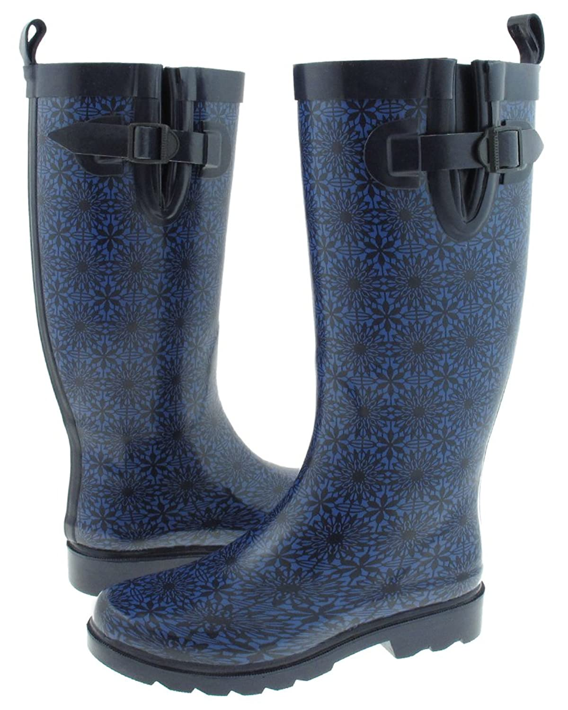 Capelli New York Small Daisy Lace Printed Ladies Tall Rubber Rain Boot