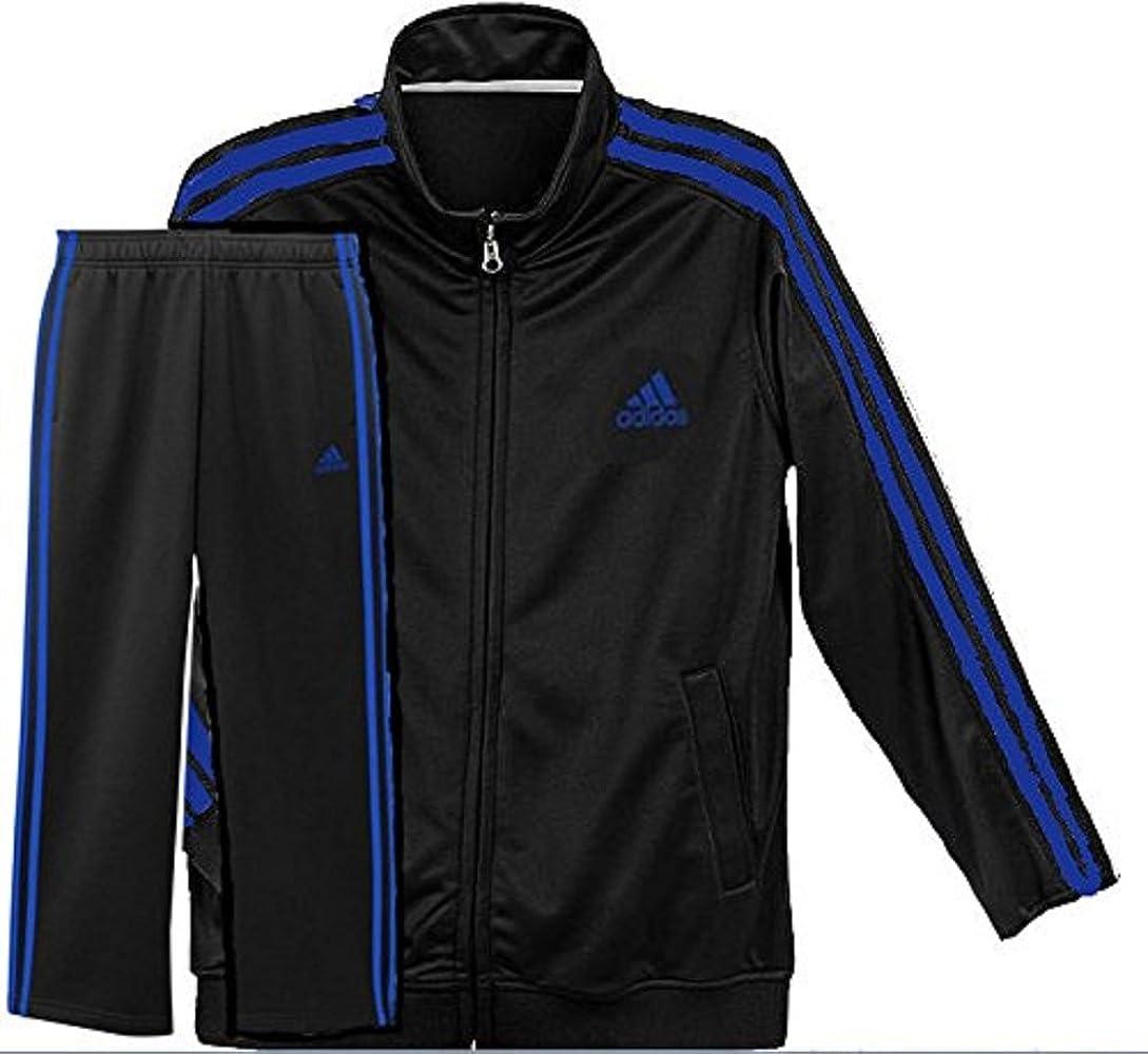 Hecho para recordar Casi Acumulativo  adidas Youth 3 Rayas Negro/Azul de indicador Chándal Chaqueta y Pantalones  Set, Negro/Azul: Amazon.es: Deportes y aire libre