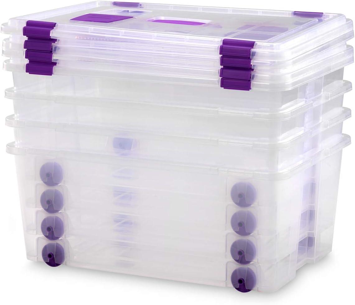TODO HOGAR Cajas Almacenaje Plastico Grandes Multiusos con asa y Ruedas Natural -585x390x250-42 litros (4)