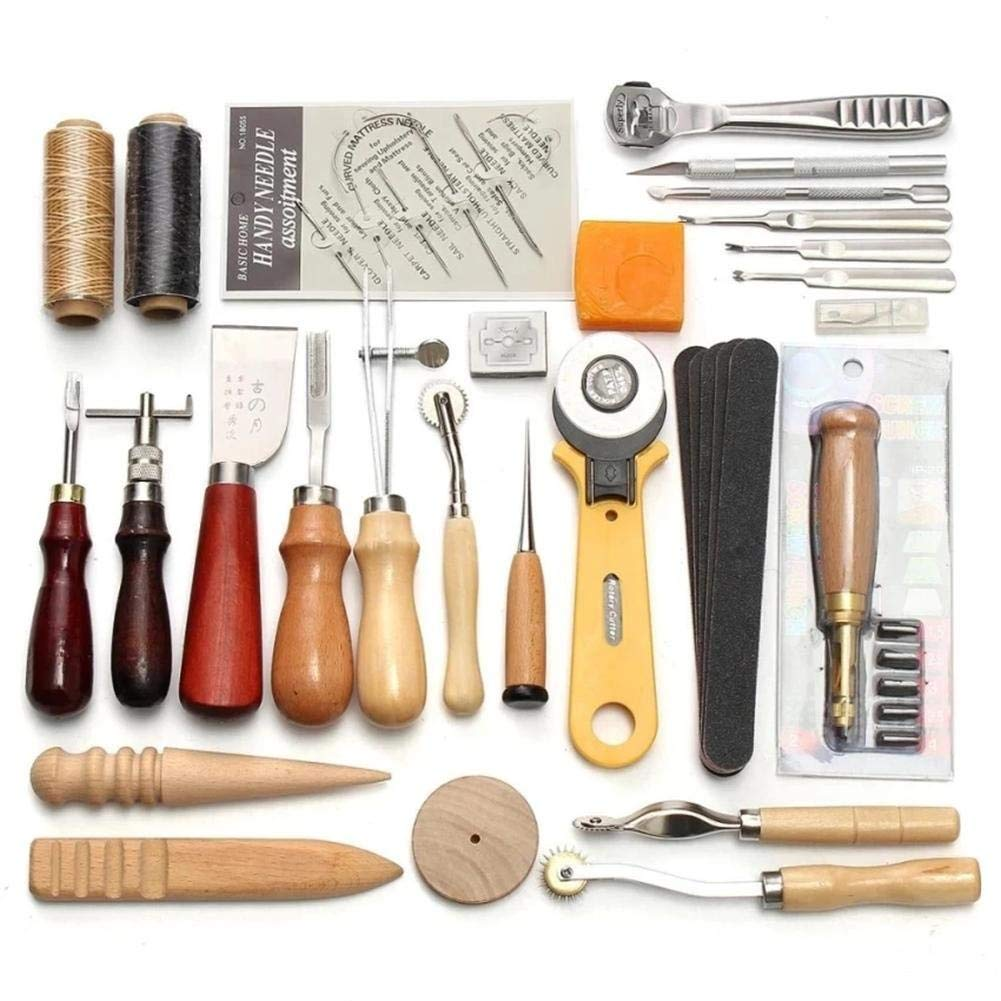 Craft Tools Professional 37 Pcs Leather Craft Tools Kit Hand Sewing Stitching Punch Carving Work Saddle Leathercraft Accessories