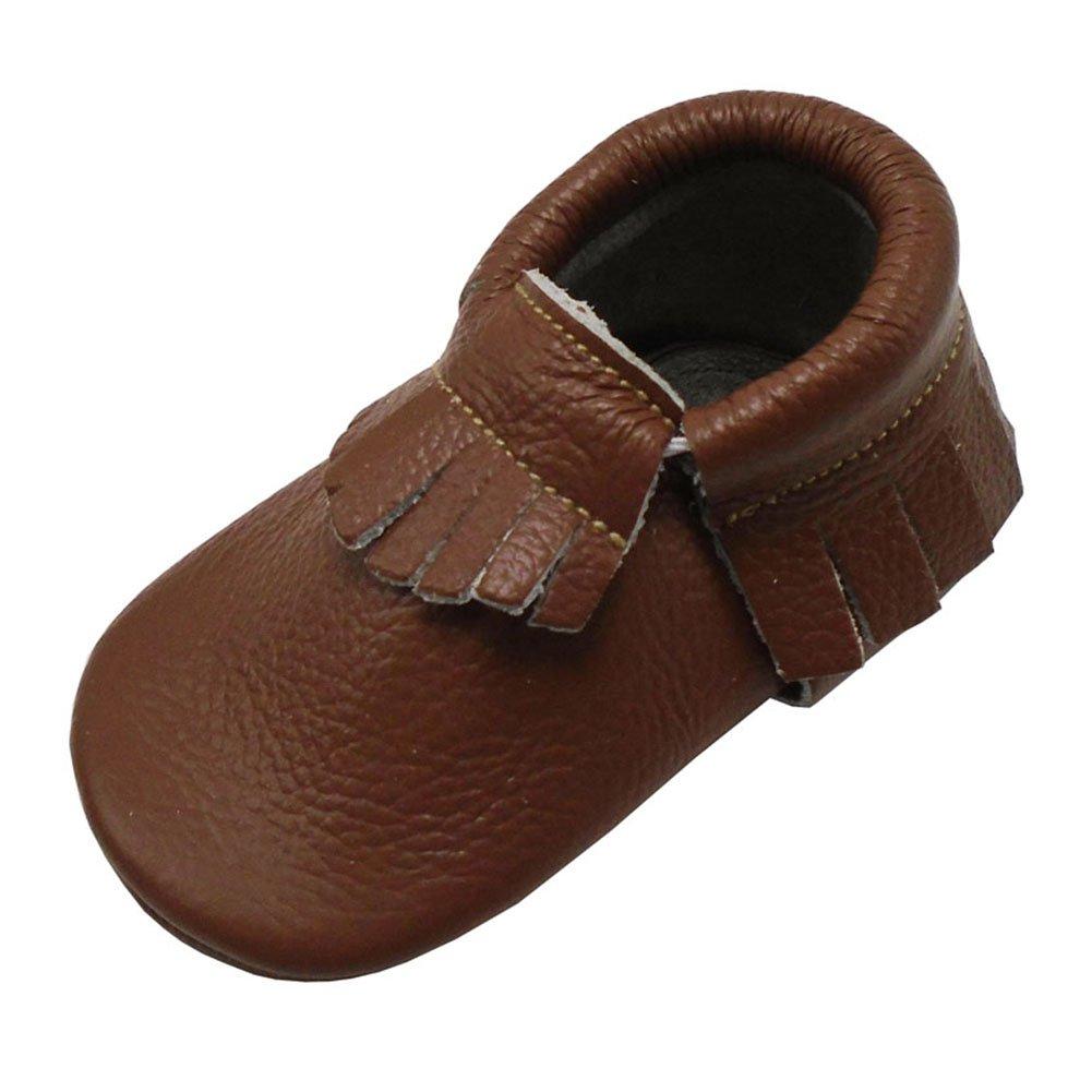 Mejale Baby Soft Soled Leather Moccasins Fringe Slip-on Infant Toddler Shoes Pre-Walker Brown