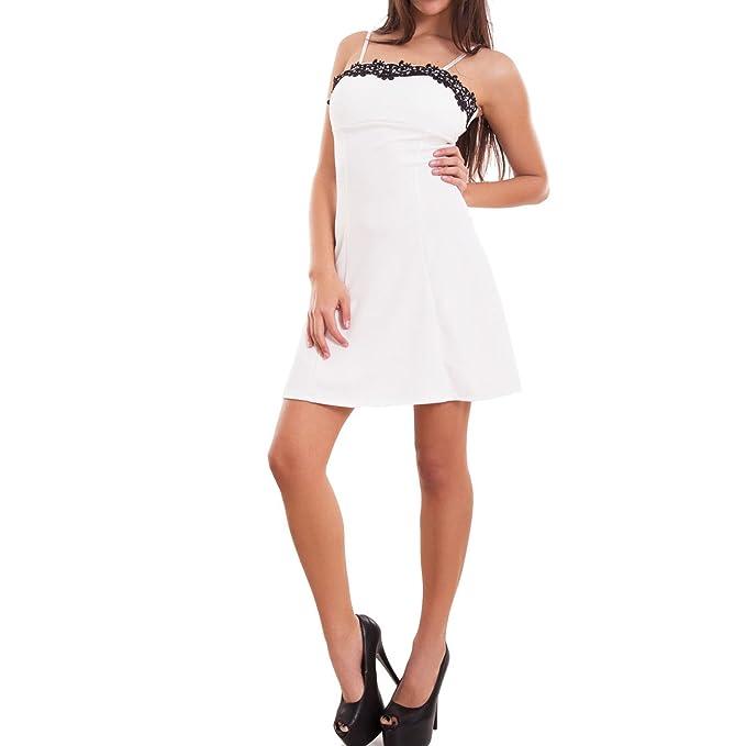 Toocool - Vestito donna miniabito abito corto pizzo coppe svasato zip sexy  nuovo CJ-2209  Taglia unica 4a12b427781