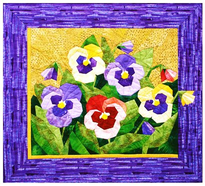 Pansy Spring Flower Quilt Foundation Pieced Pattern by Foundation Paper Piecing