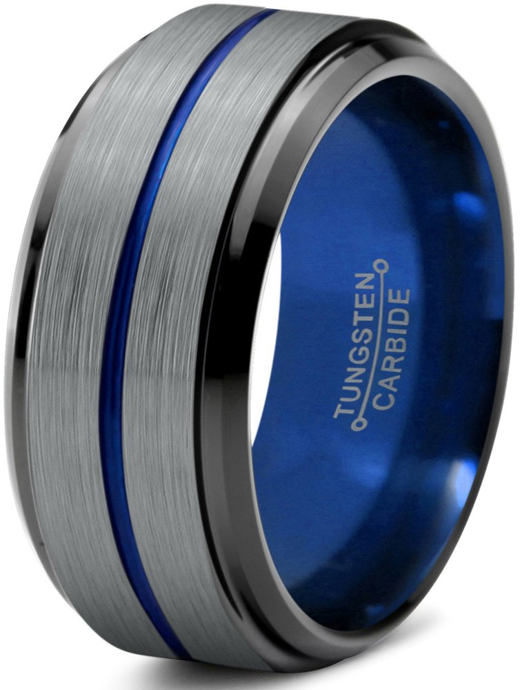 Chroma Color Collection Tungsten Wedding Band Ring 10mm for Men Women Blue Red Green Purple Black Center Line Step Beveled Edge Brushed Polished Size 7