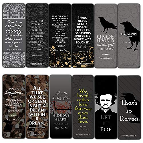 Edgar Allen Poe Bookmarks Cards (12-Pack) - Nevermore The Raven - Reader Literary Gift Vintage Decor - Bookish Stocking Stuffers for Adults Men Women Teens (Nevermore The Best Of Raven)