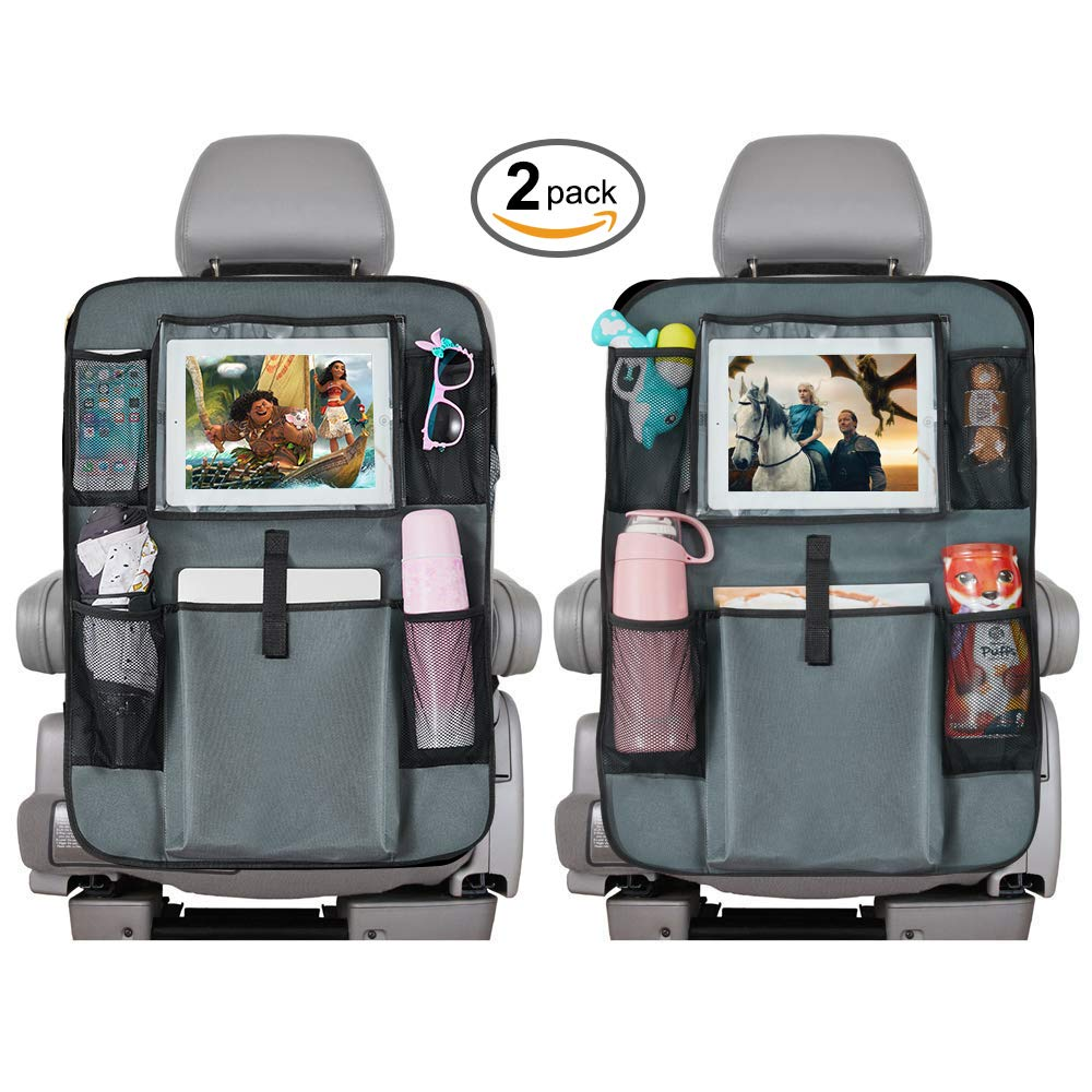 WOZSTAR Backseat Car Organizer Gray 2 Pack Storage Pockets Seat Back Protectors Kick Mats with 10 Tablet Holder Car Organizers for Kids and Toddlers Toy Bottle Vehicle Travel Accessories