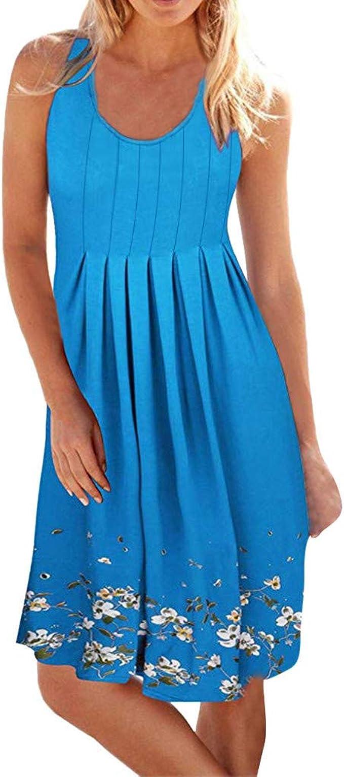 Tomatoa Kleider Damen Sommer Kleid Sommer Elegant Strandkleider O Ausschnitt Frauen Kleider Sleeveless Kleid Cocktail Kleider Party Kleider Amazon De Bekleidung
