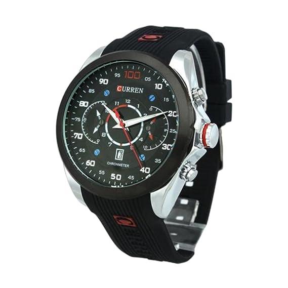 Hombre Reloj - CURREN Reloj De Hombre Resistente al agua Army Military Acero Auto Dial Fecha Plateado: Amazon.es: Relojes
