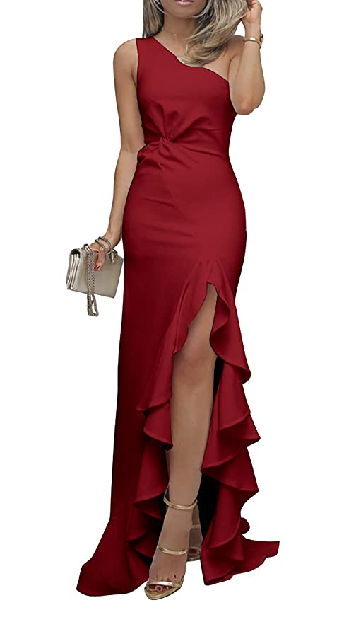 50858214f69 BTFBM 2019 Women s One Shoulder Split Bodycon Mermaid Evening Cocktail Long  Dress at Amazon Women s Clothing store