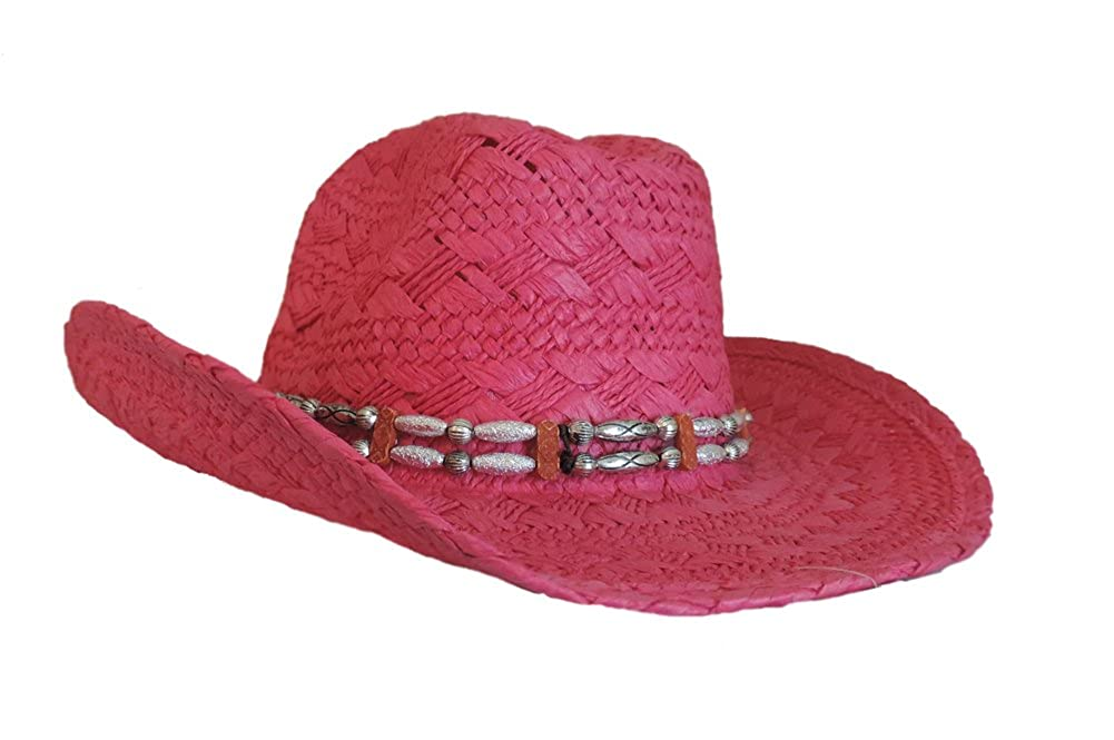Womens Cowboy Western Toyo Hat Fuchsia with Beaded Hat Band