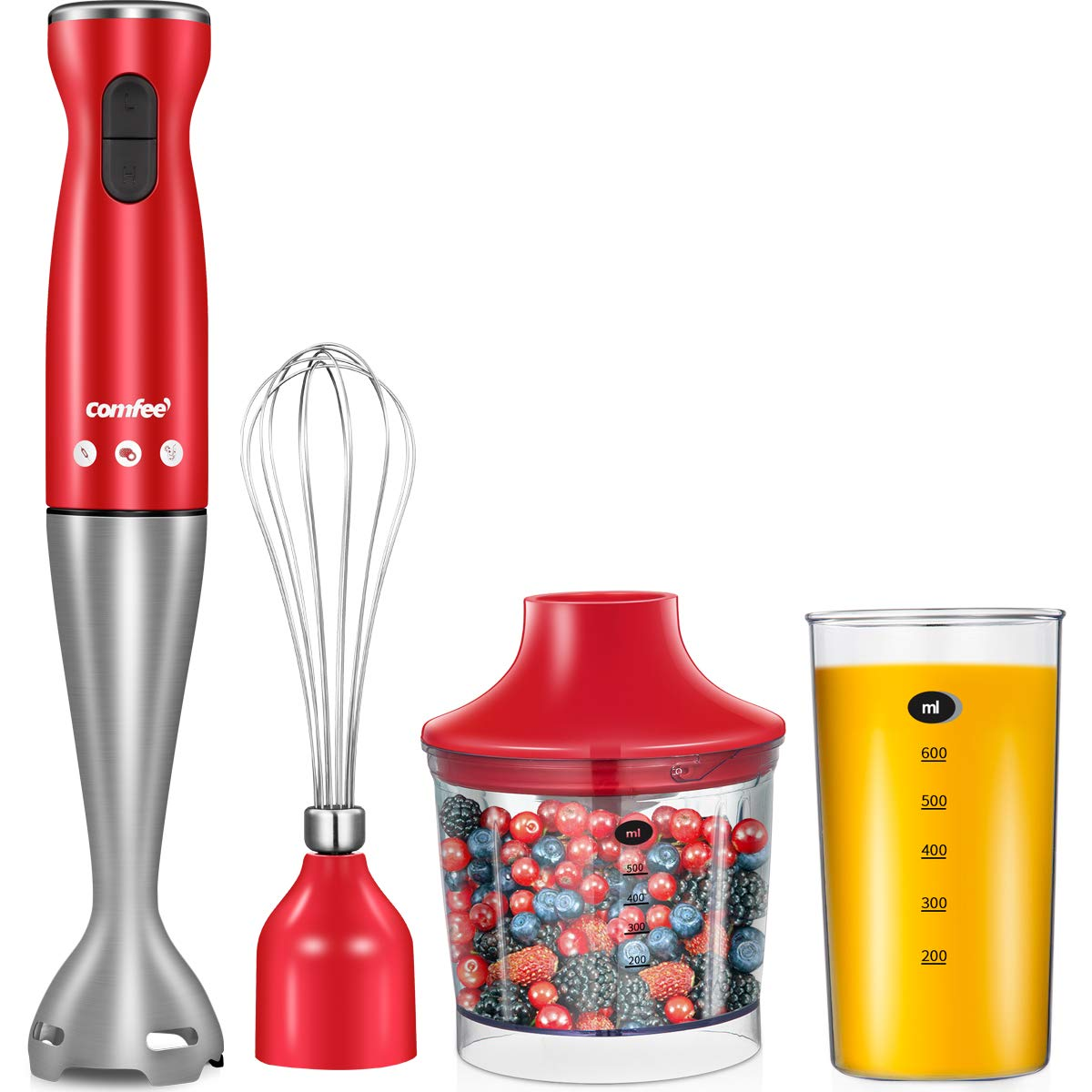 Electric Hand Immersion Blender, 4-in-1 Hand Mixer with 500ml Food Chopper, 600ml Beaker, Balloon Whisk, Stainless Steel Blending Shaft by Comfee (RED)