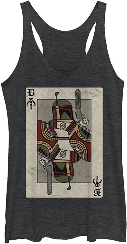 Star Wars Womens Boba Fett Playing Card Racerback Tank Top