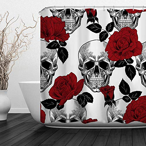 ALFALFA Skulls Shower Curtain,Decorative Polyester Fabric Novel Design Shower Curtain With Hooks,Skull and Flowers Design, Waterproof, 72