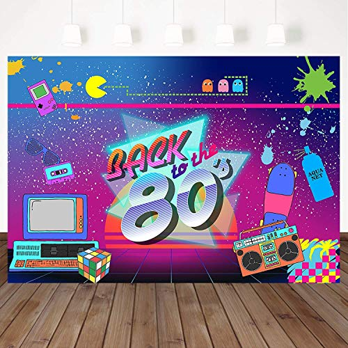 Mehofoto 80's Backdrop Back to 80's Hip Hop Party Background 7x5ft Graffiti Music Game Vinyl Photography Backdrop Banner Decoration