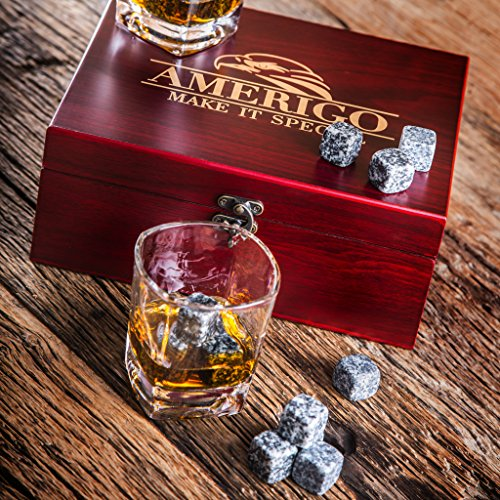 Impressive Whiskey Stones Gift Set with 2 Glasses - Be Different When Choosing a Gift - Luxury Handmade Box with 8 Granite Whiskey Rocks, Ice Tongs & Velvet Bag - Ice Cubes Reusable - Best Man Gift by Amerigo (Image #6)