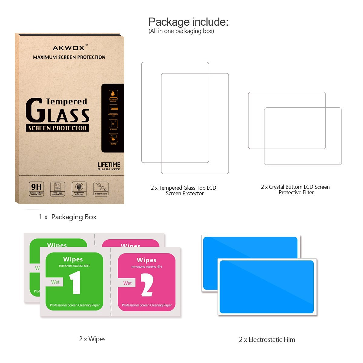 Akwox 2 In 1 9h Tempered Glass Top Lcd Screen Protector With Hd For New 3ds Xl Ll Hori Clear Crystal Pet Buttom Protective Filter Nintendo