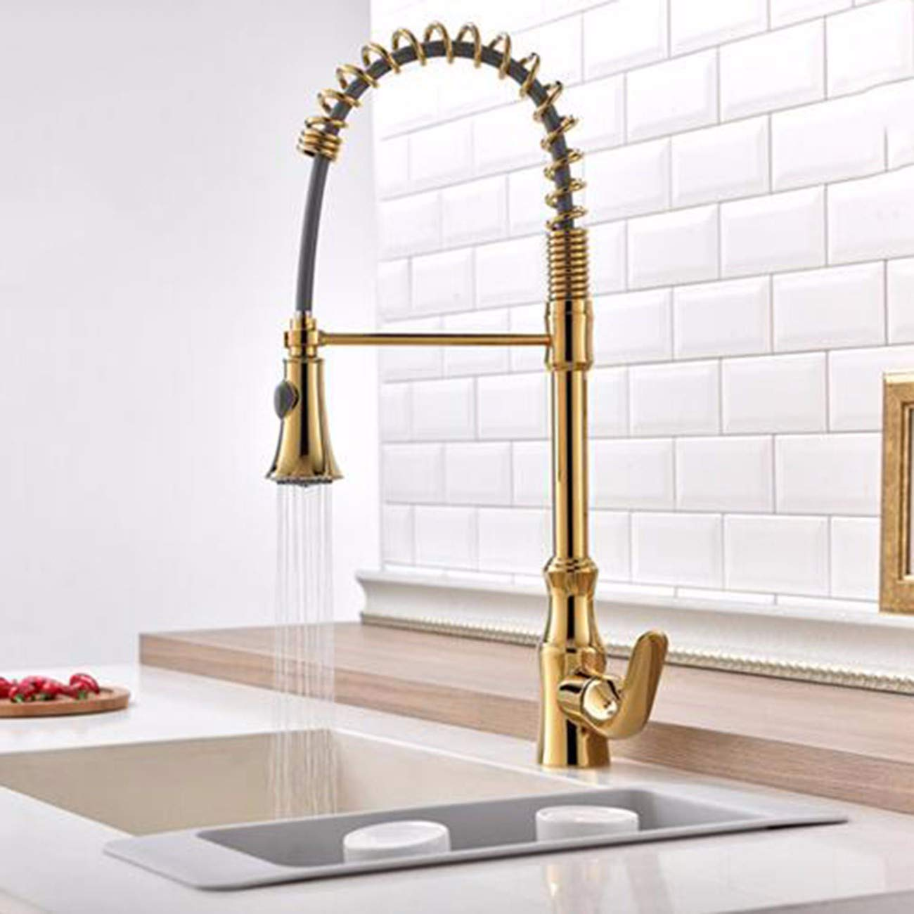 Kitchen Faucet American Copper Plated Gold, Kitchen Spring, Faucet, Gold wash Bowl, Sink, Mixing tap.