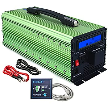 EDECOA 3000W Power Inverter Modified Sine Wave DC 12V to 110V AC with LCD Display and Remote