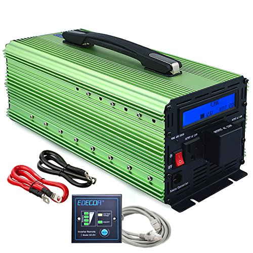 EDECOA 3000W Power Inverter Modified Sine Wave DC 12V to 110V AC with LCD Display and Remote (Automatic Fan Controller)