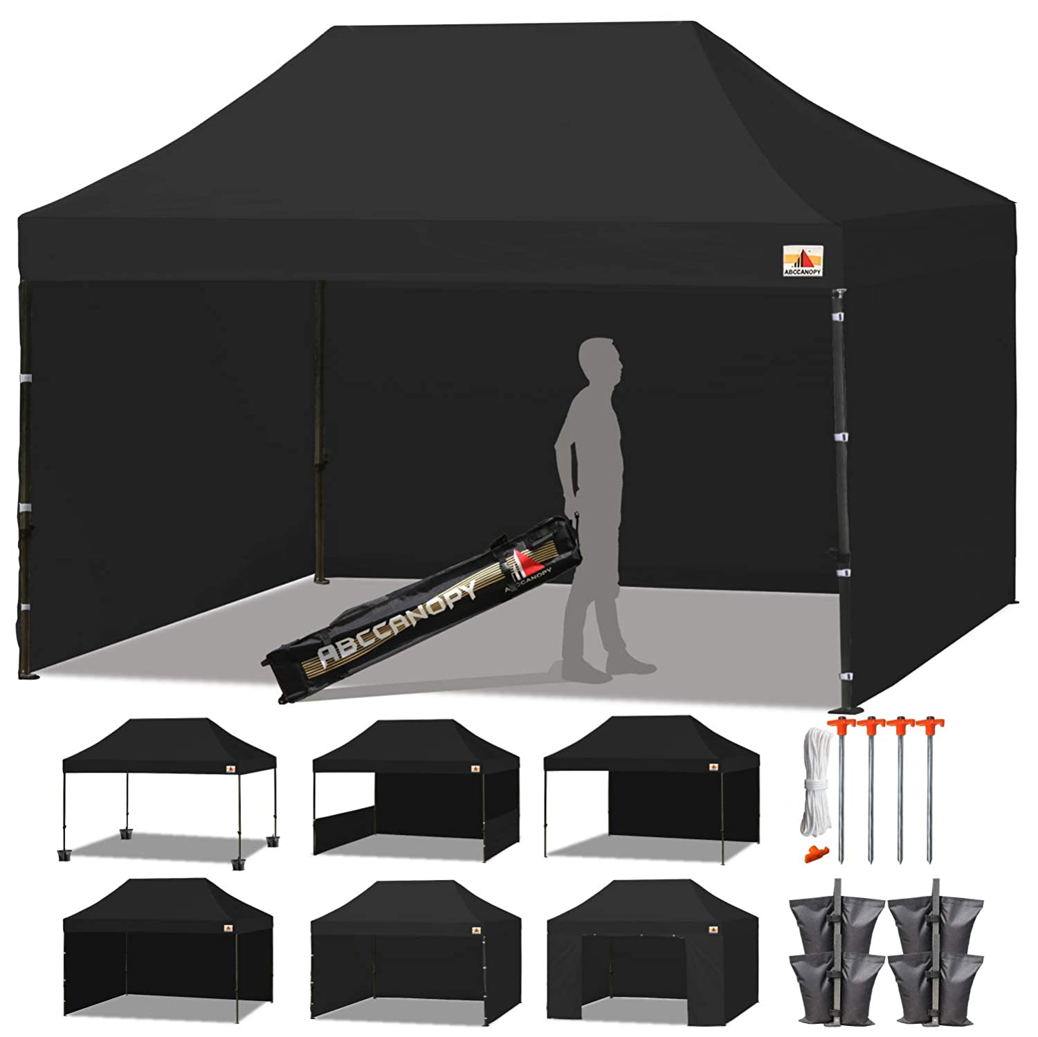 ABCCANOPY Deluxe 10 X 15 Pop up Canopy Tent Commercial Instant Gazebos with 6 Removable Walls and Roller Bag and 4 Weight Bags Black