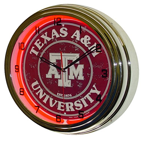 Texas A&M University Logo Sign Neon Lighted Wall Clock Chrome Red -