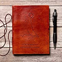 Pisces Handmade Zodiac Leather Journal with Unlined Paper - Vintage Bound Horoscope Notebook Sketchbook for Men & Women – Celestial Diary Notepad with Soft Cover - Perfect Gift for Artists & Writers