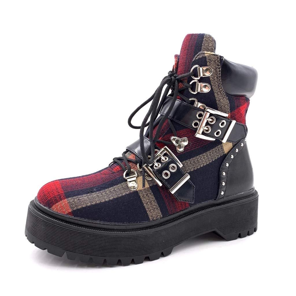 Angkorly - Damen Schuhe Stiefeletten Turnschuhe - Combat Stiefel - - - Biker - Rock - Vichy-Muster - String Tanga - Nieten-Besetzt Blockabsatz high Heel 4.5 cm cb3e8c