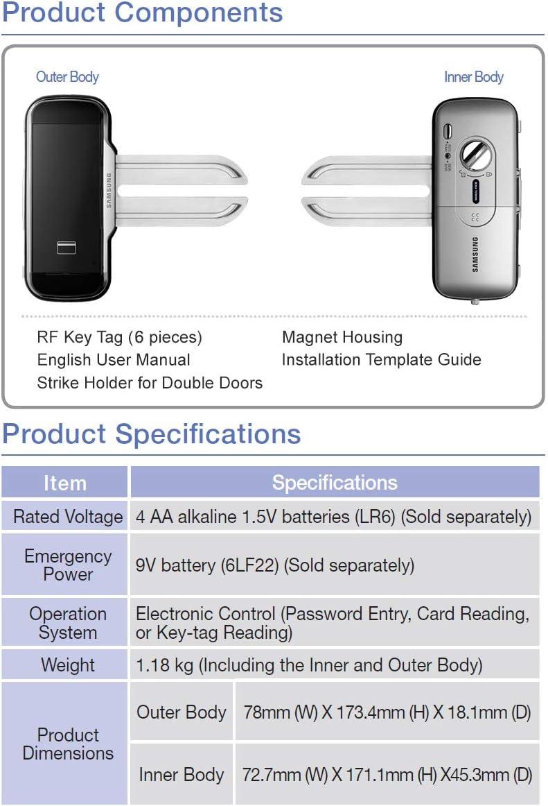 6 keyTags Samsung SHS G51 Digital-Glast/ürschloss f/ür Doppelt/üren Englisch manuellen