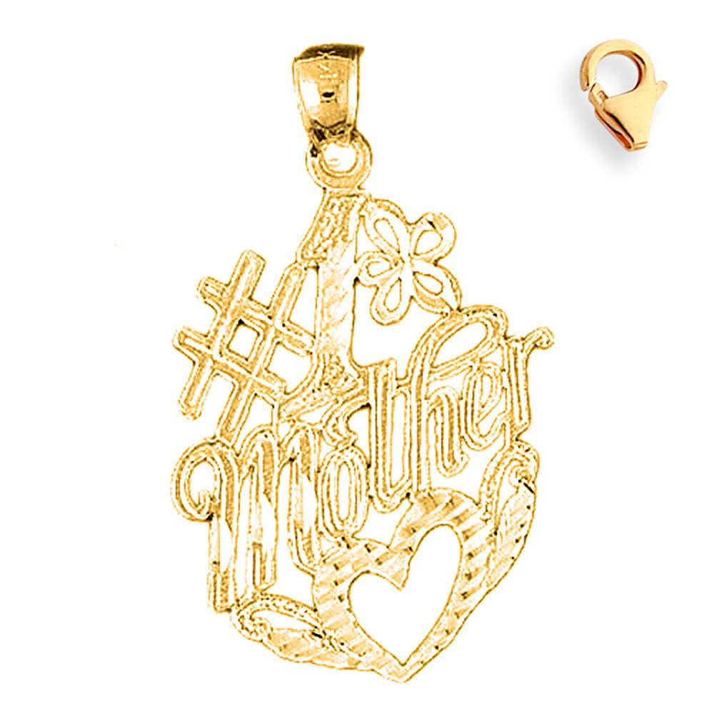 35mm Silver Yellow Plated #1 Mother Charm