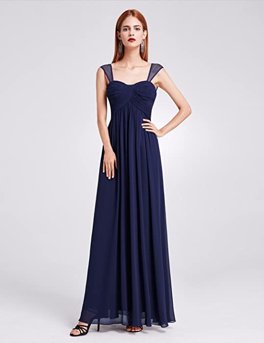 e3c8d7669b9 ... Elegant Long Chiffon Bridesmaid Dress with Corset Back 4 US Navy Blue.  Back. Double-tap to zoom