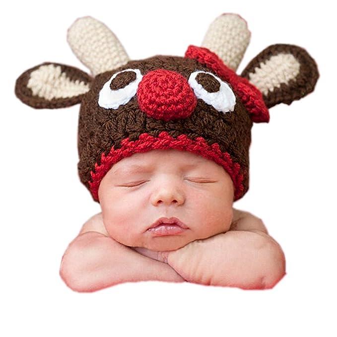 DAYAN Cappello vestiti renna di babbo Natale neonato uncinetto maglia  fotografia foto Prop  Amazon.it  Abbigliamento 57e141e734a3