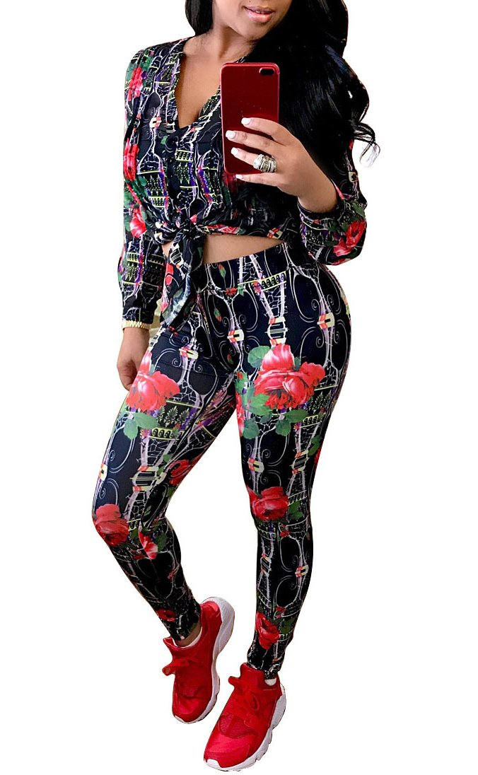 Playworld Women's Long Sleeve 2 Pieces Outfit Geometric Print Top and Long Pants Bodycon Jumpsuits Set Black-L