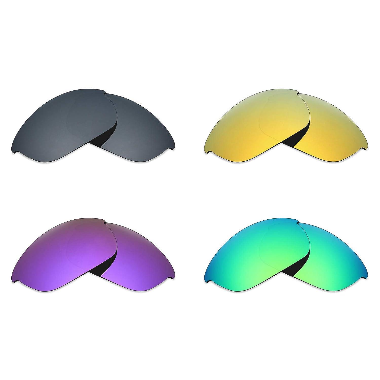 MRY 偏光交換レンズ Oakley ハーフジャケット2.0 サングラス用 4セットブラックイリジウム/24Kゴールド/プラズマパープル/エメラルドグリーン   B06XTZ74KP