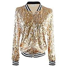 Anna-Kaci Womens Black Silver Sequin Fitted Rib Long Sleeve Zipper Blazer Jacket