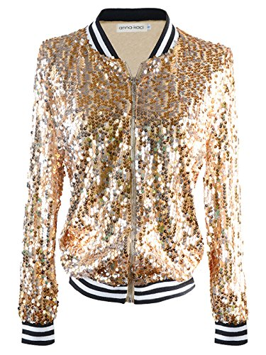 Anna-Kaci Womens Sequin Long Sleeve Front Zip Jacket with Ribbed Cuffs, Gold, Small