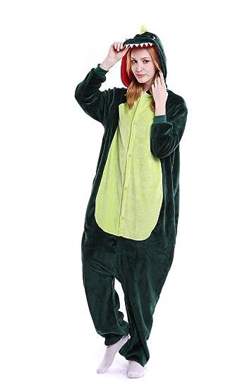 19392f5334 Women Adult Pajamas Onepiece Animal Cosplay Costume Sleepwear Plush One  Piece Onesies Outfit Jumpsuit-Lvsekonglong