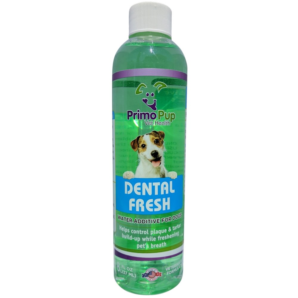 Primo Pup Vet Health - Dental Fresh Water Additive - All Dog Formula with Peppermint Oil - Veterinarian Formula Reduces Plaque & Tartar, Freshens Breath, Reduces Bacteria in Mouth - 8 fl oz