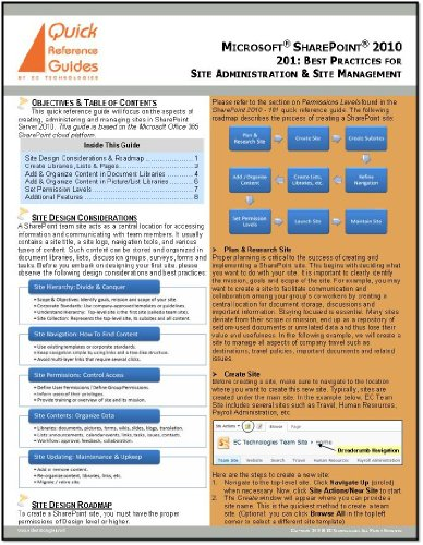 Microsoft SharePoint 2010 Quick Reference Guide - 201: Using SharePoint to Create & Manage Sites