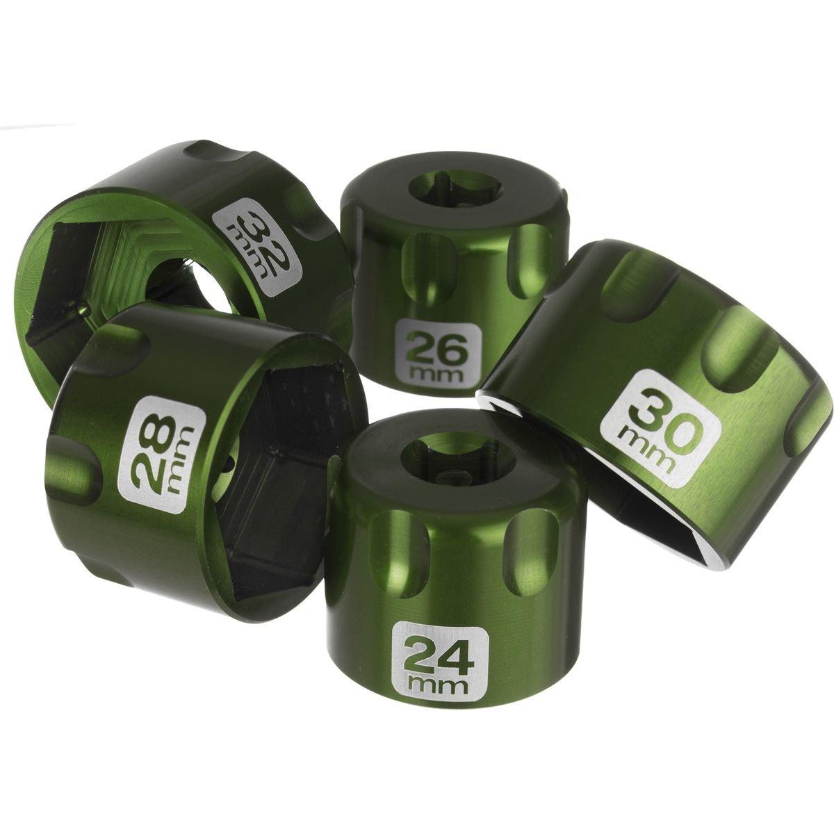 Abbey Bike Tools Suspension Top Cap Socket Set Green, Set of 5, 24 to 32mm